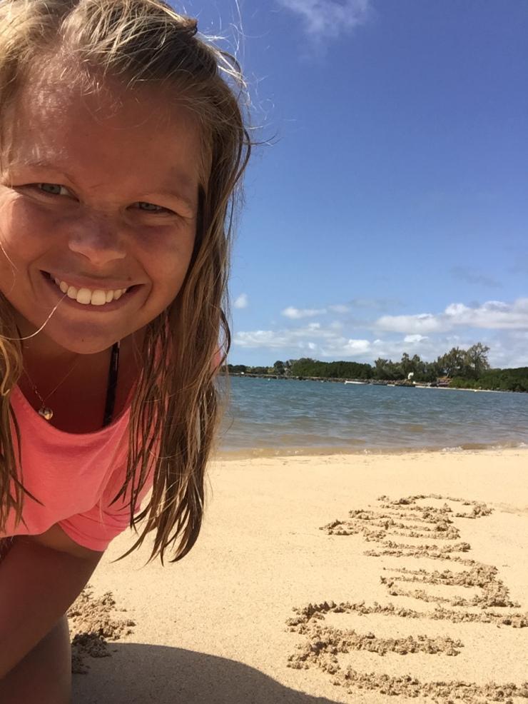 Pernilla at a beach